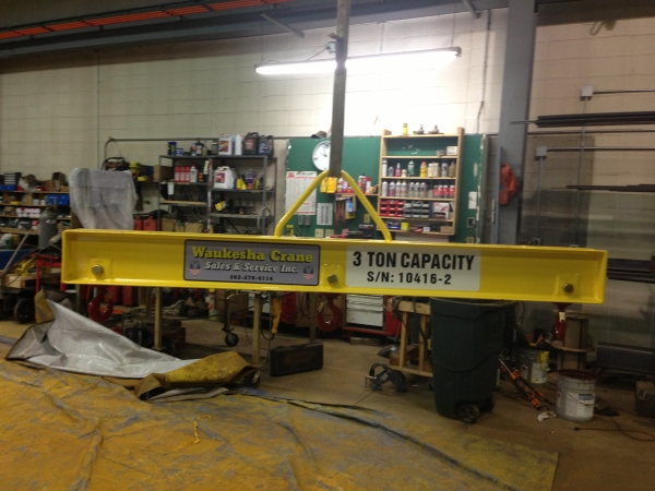 Custom girder crane lifting beam manufactured by Waukesha Crane